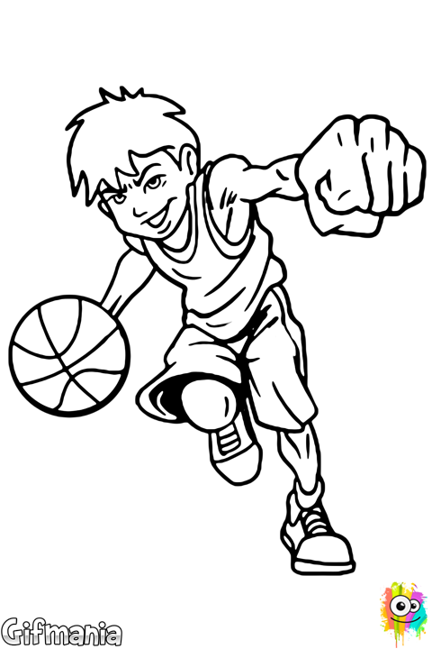 Playing sport coloringpage drawing. Gym clipart basketball practice