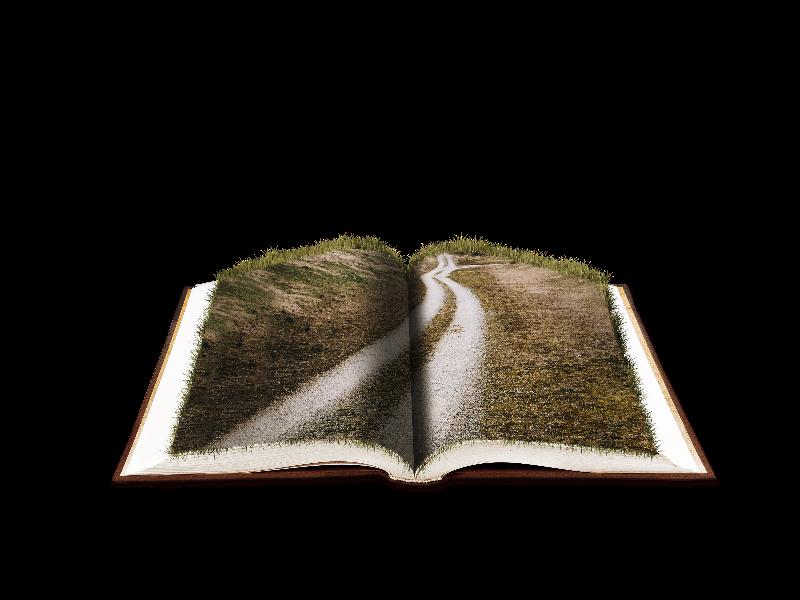 Open with farm road. Fantasy clipart book