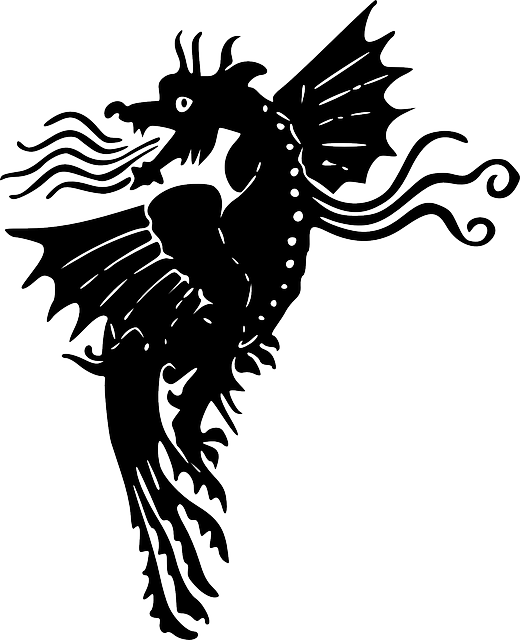 Fire clipart silhouette. Dragon flying fantasy wings
