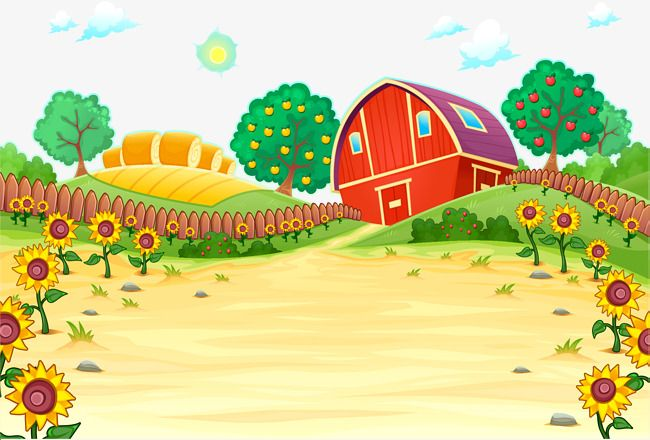 Farm clipart background. Red house vector png