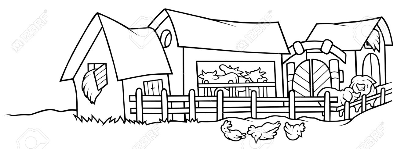Farm clipart black and white. Look at clip art