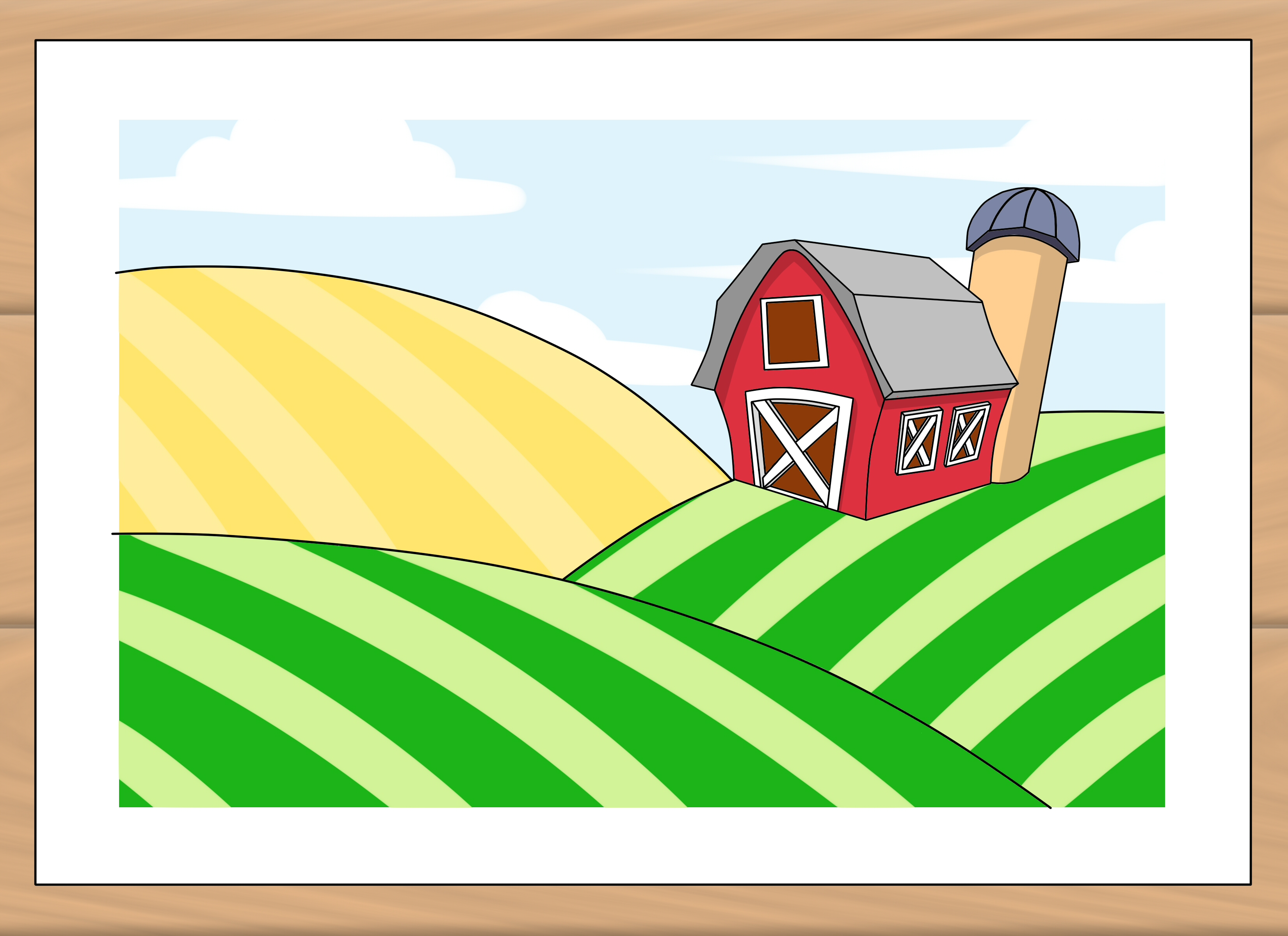 How to draw a. Field clipart small farm