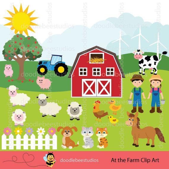 Farmhouse clipart animal farm. Animals clip art set