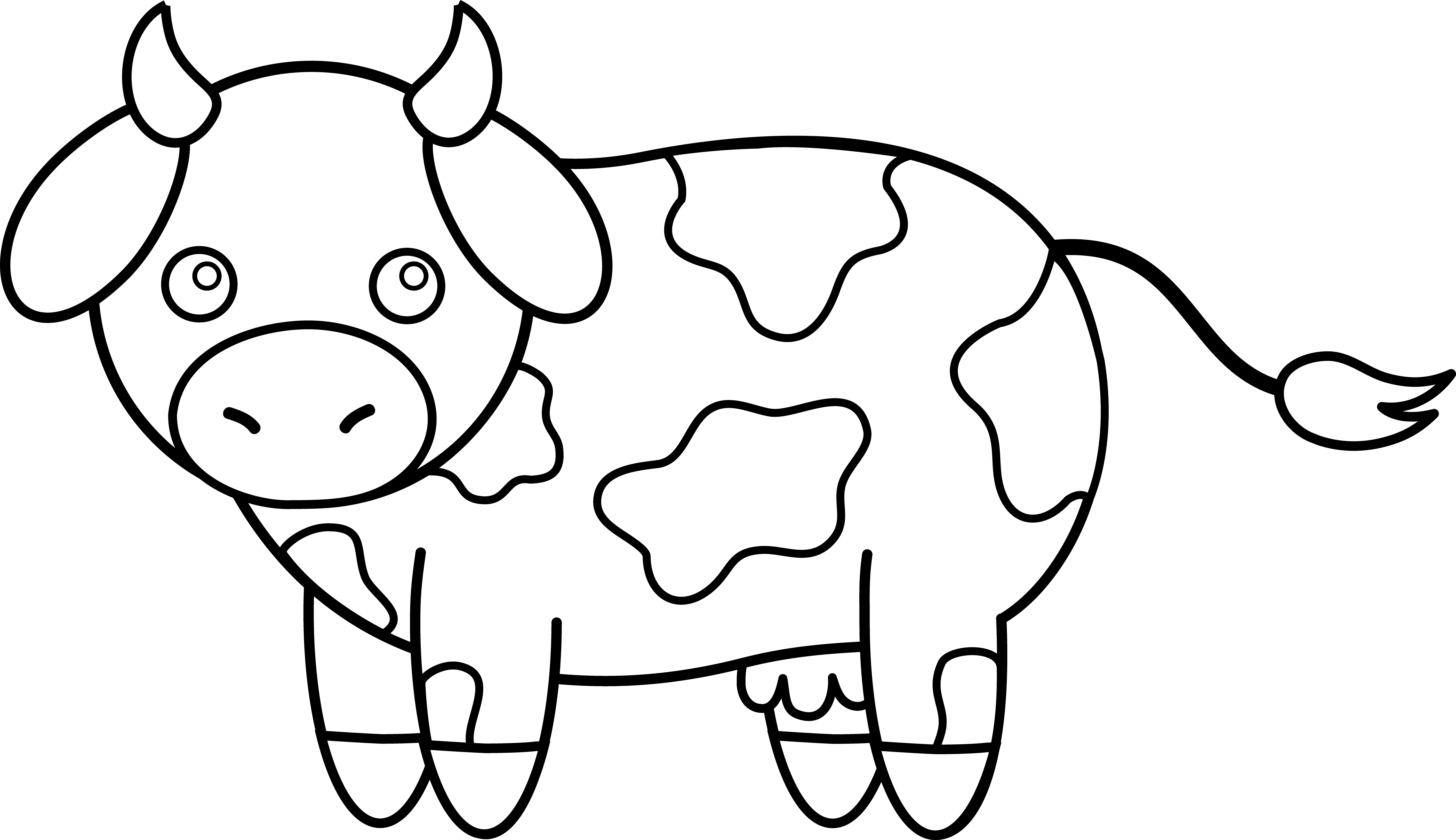 Farm clipart preschool. Cow line drawing clip