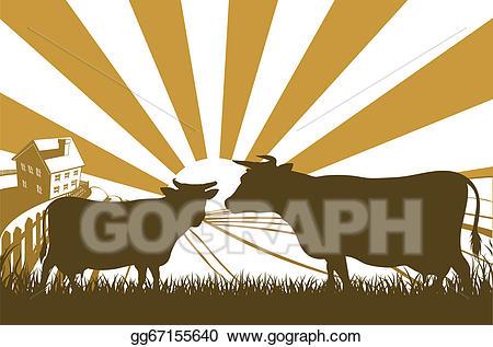 Eps vector sunrise cow. Farmhouse clipart farm landscape