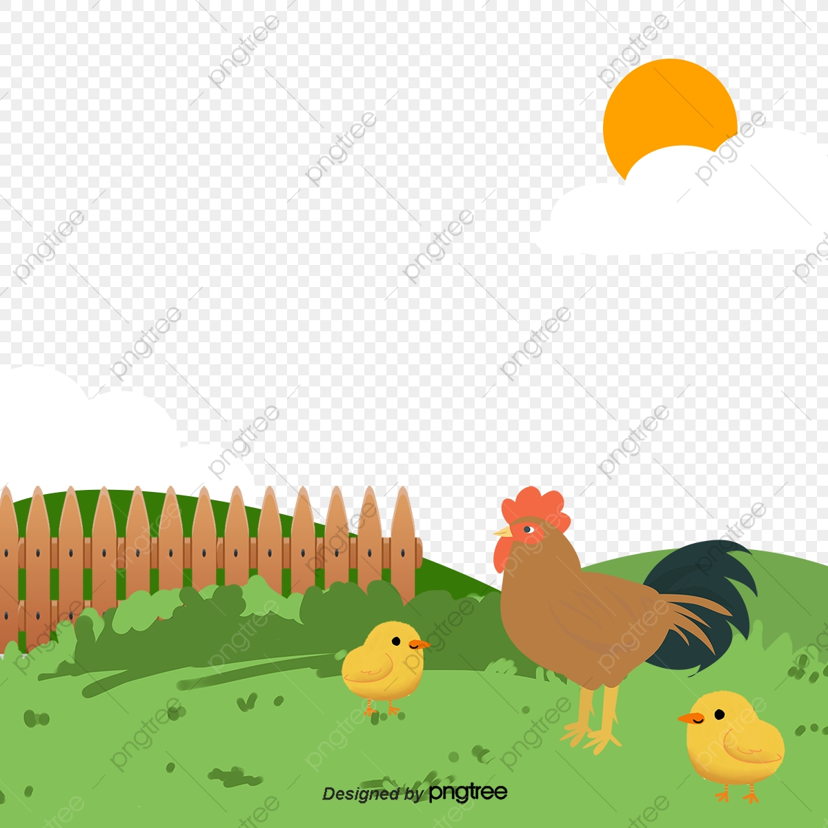 Green chicken . Farm clipart vector