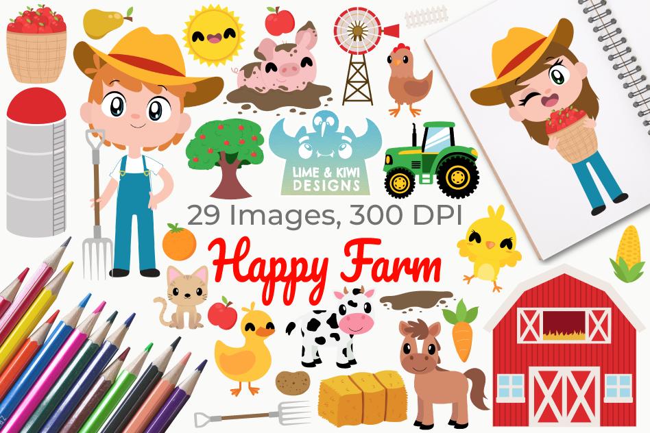 Farm clipart vector. Happy instant download art