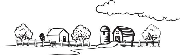 Coloring book landscape clip. Farm clipart vector