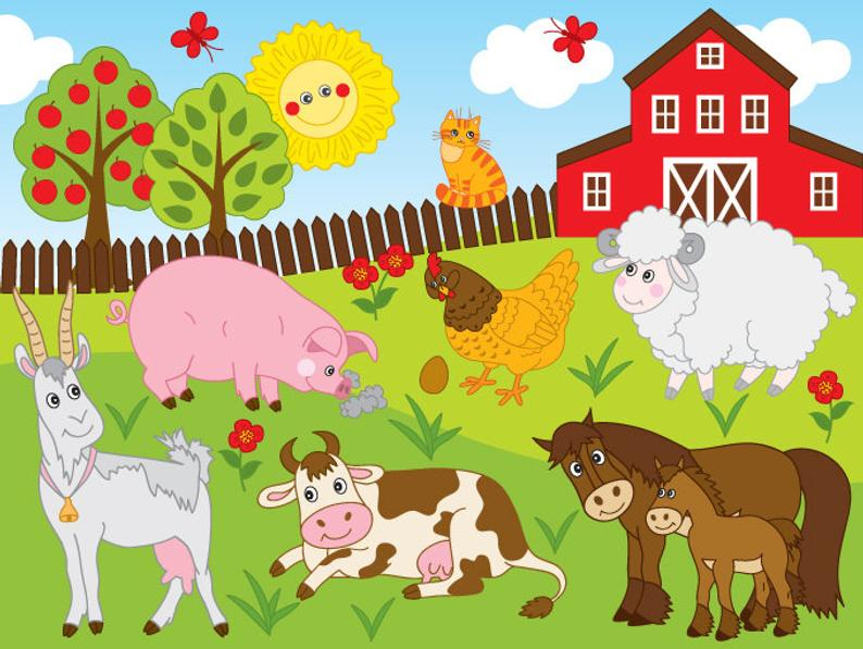 Farm clipart. Vector animals animal party