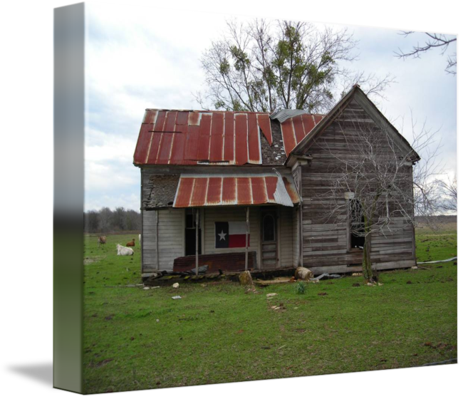 Old texas with flag. Farm house png