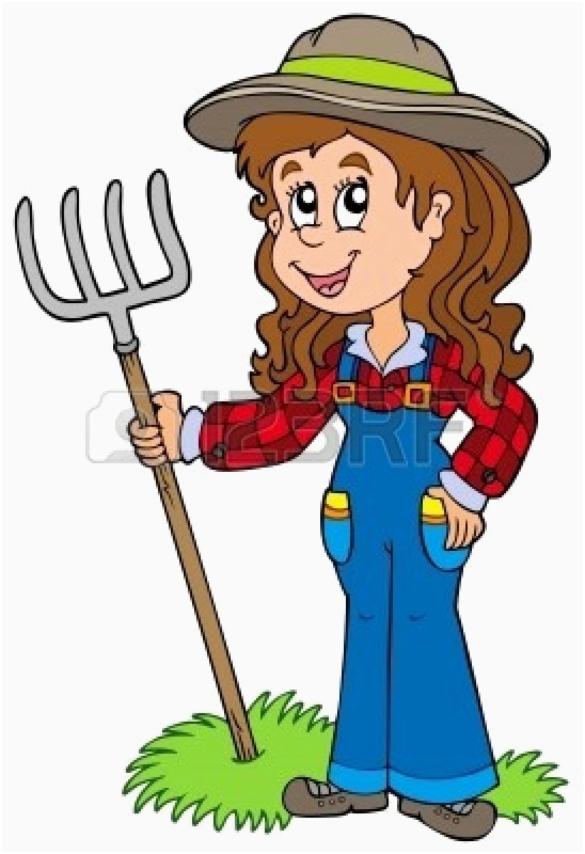Farming elegant cartoon cliparts. Farmer clipart