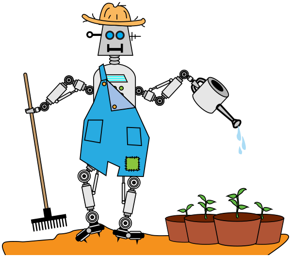 Image for robot farmer. Farmers clipart illustration