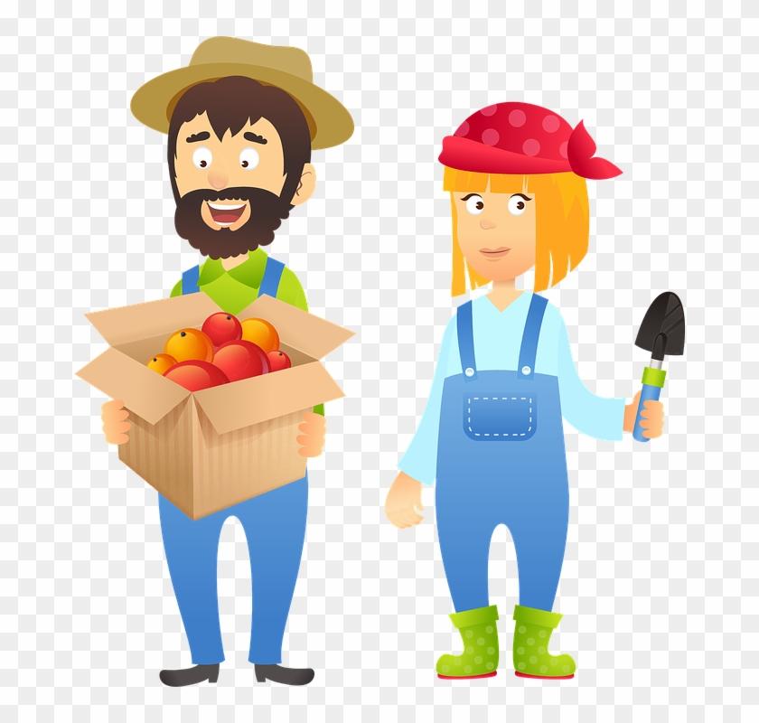Farmer clipart couple. Fruit nature agriculture cute