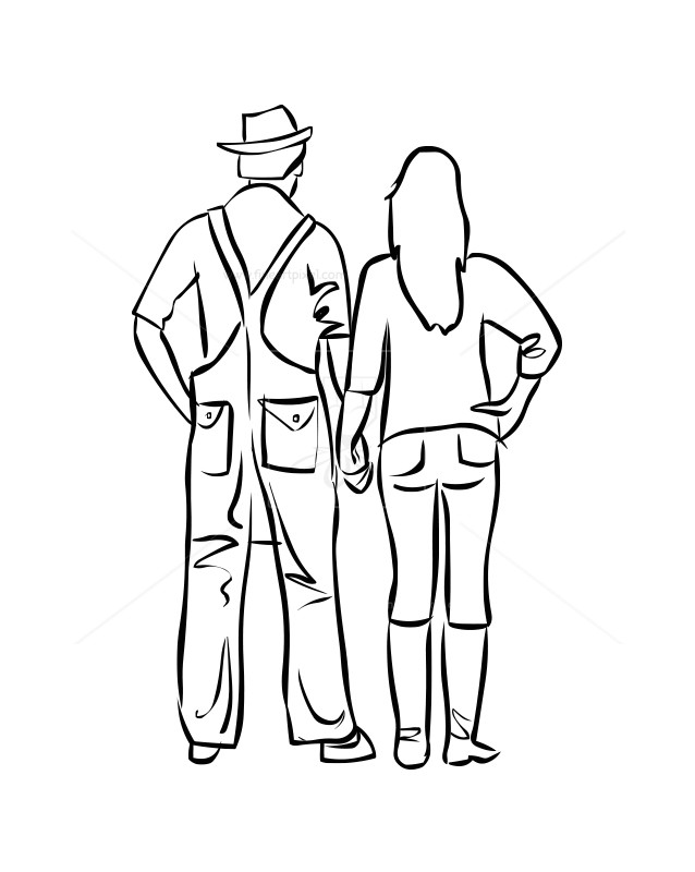 Couples drawing free vectors. Farmer clipart couple