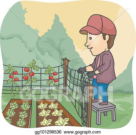 Vector stock man farmer. Fence clipart gardening