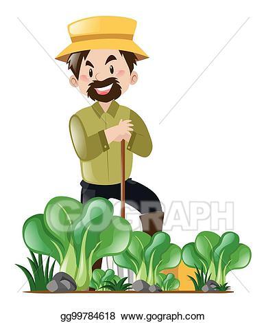 Vector art farmer and. Farming clipart garden