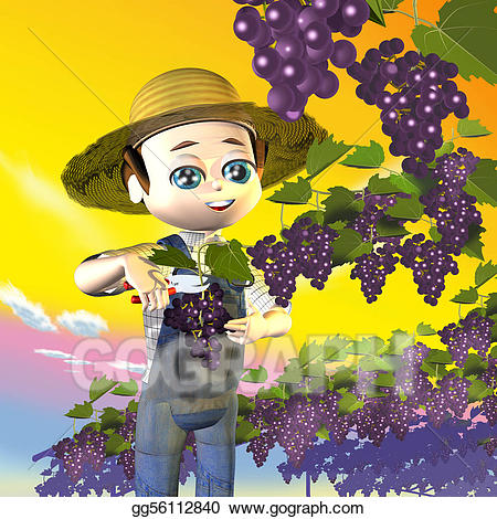 Stock illustration clip art. Grapes clipart farmer