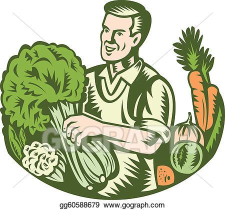 Vector farmer green grocer. Farming clipart organic farming