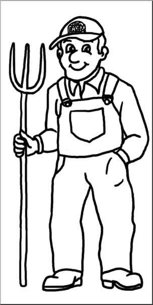 Farmers clipart line art. Clip farmer b w