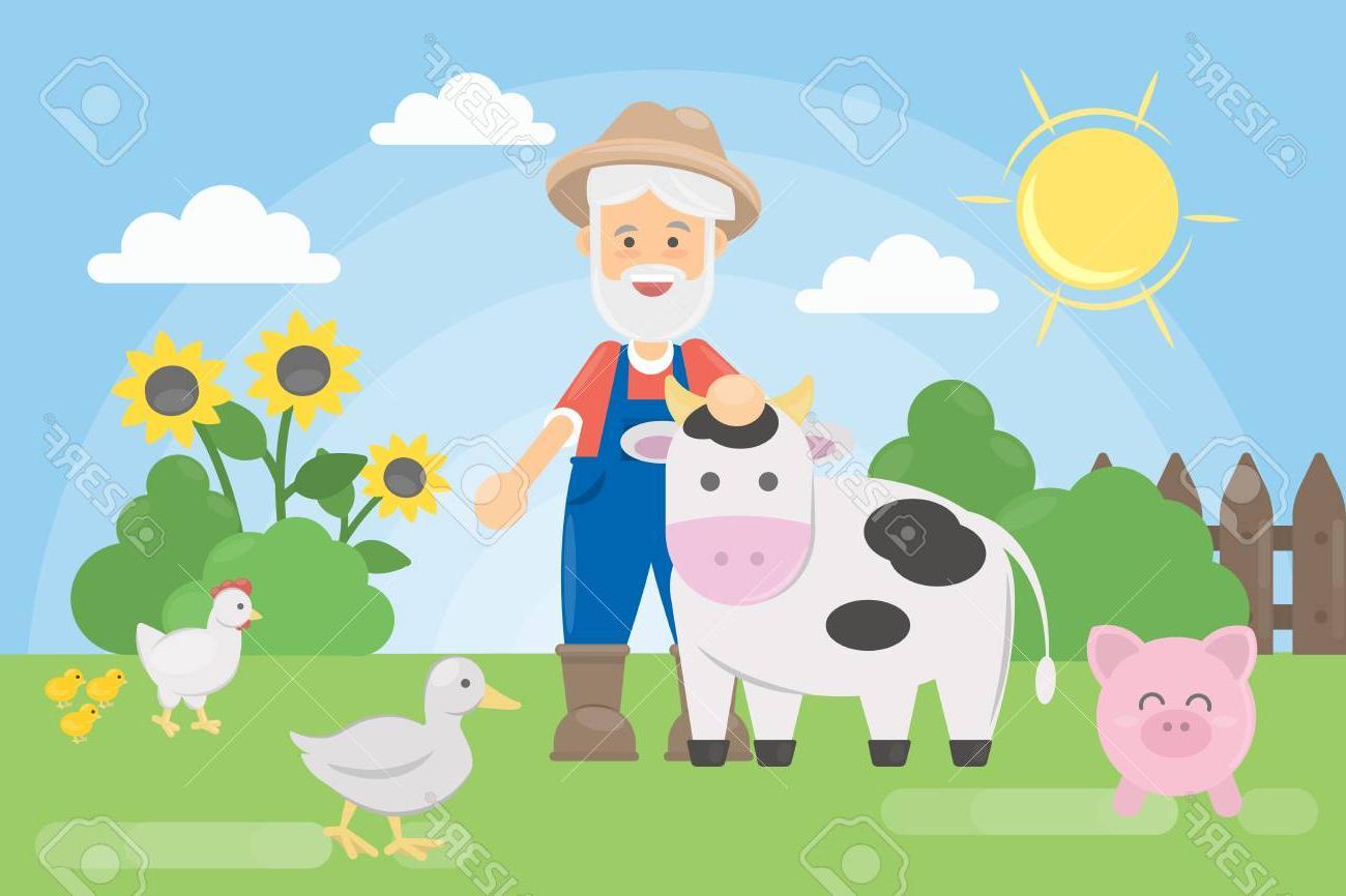 Unique man cartoon vector. Farmers clipart old farmer