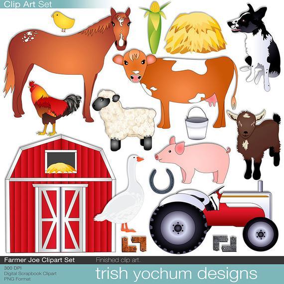 Farmer clipart printable. Farm digital animals ranch