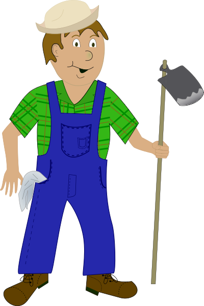 Free farmer holding a. Farming clipart peasant