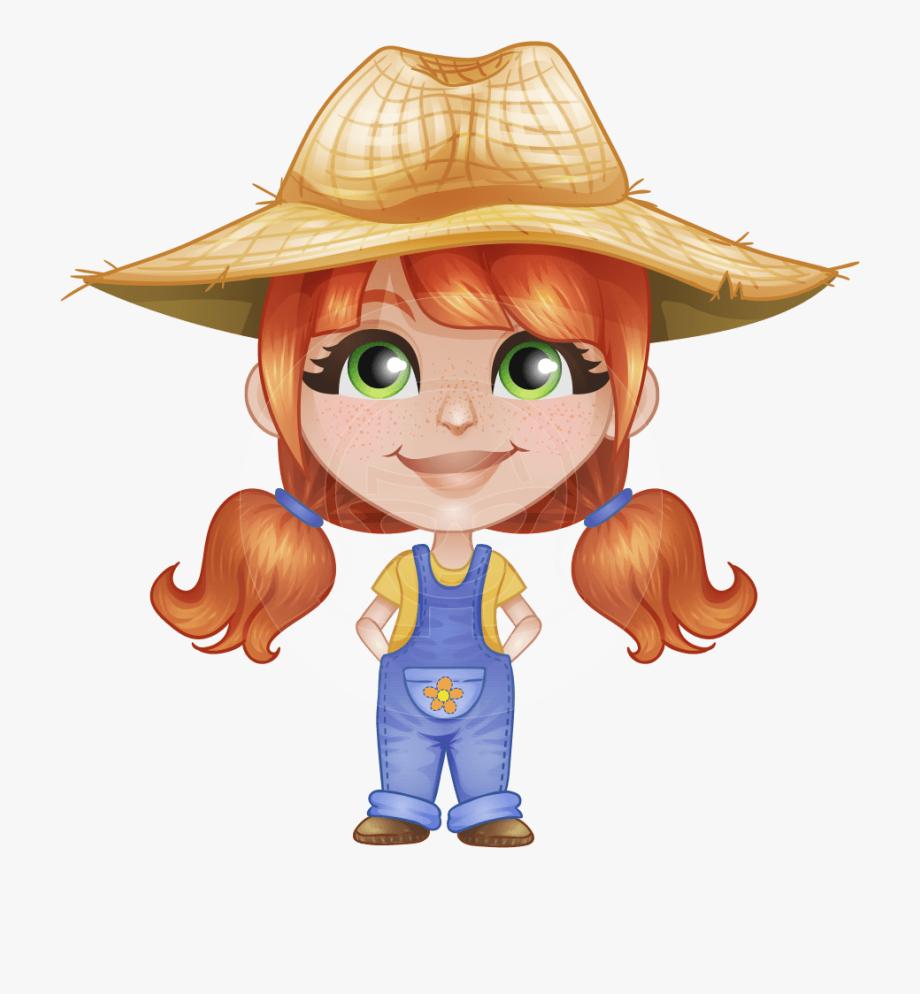 Farm with little cartoon. Farmers clipart girl farmer