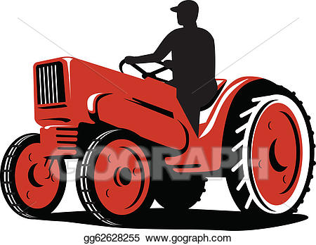 Farmer clipart tractor. Vector art driving vintage