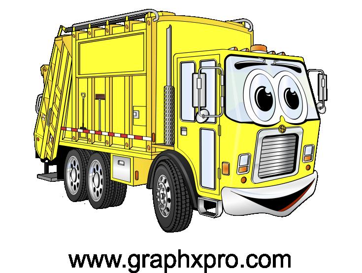 Yellow truck cartoon cartoons. Garbage clipart bin lorry