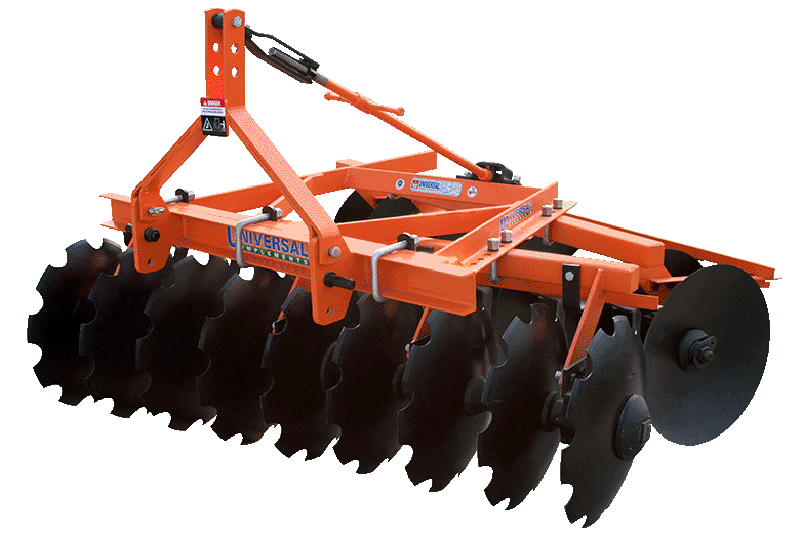 Mounted offset disc harrow. Farming clipart agriculture machine