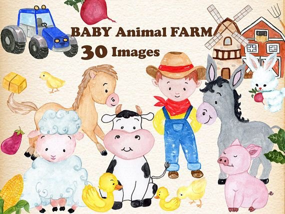 Farmers clipart baby. Animals farm watercolor