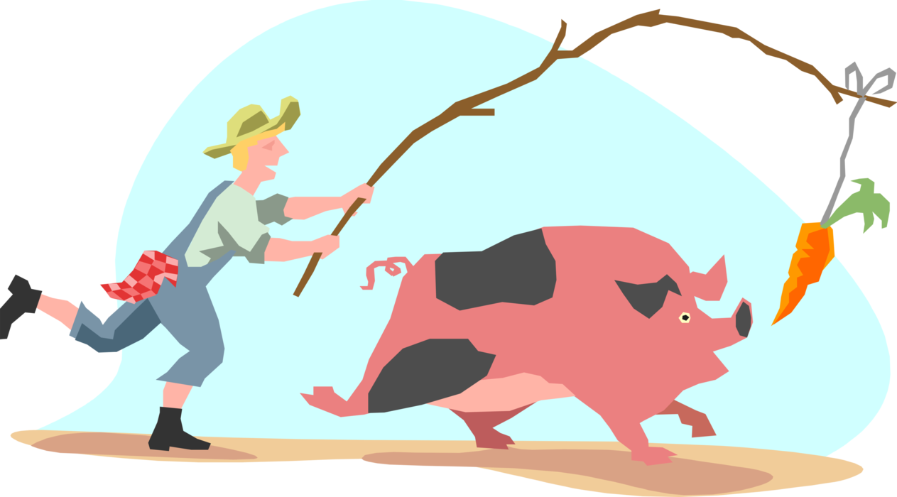 Pig chasing on vector. Vegetables clipart carrot stick