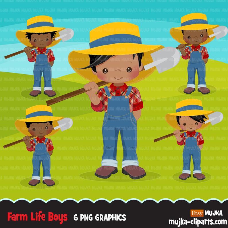 Farmers clipart country boy. Afro black farmer boys