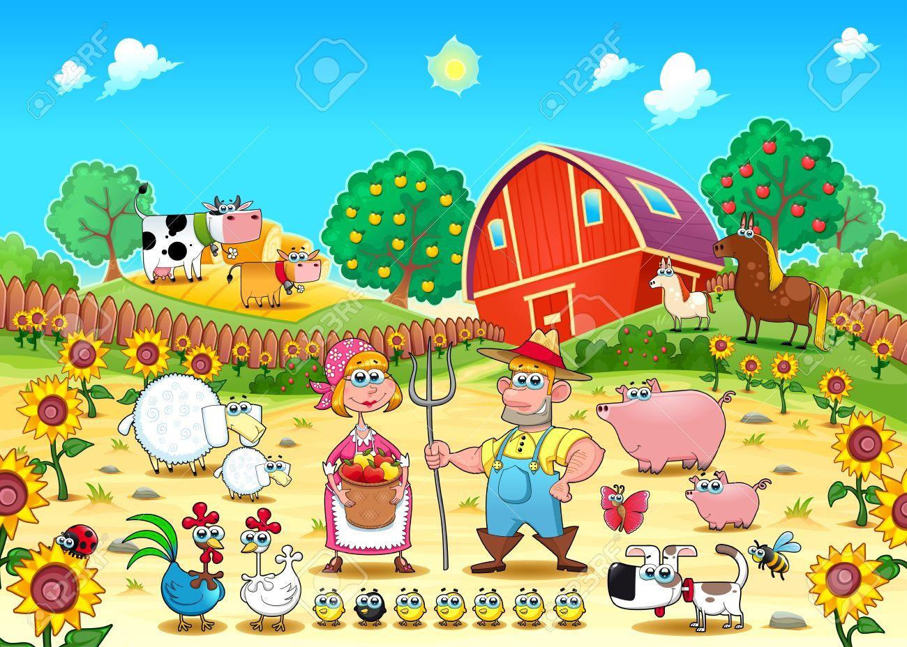 Stock vector cartoon jungle. Farmers clipart farm animal scene