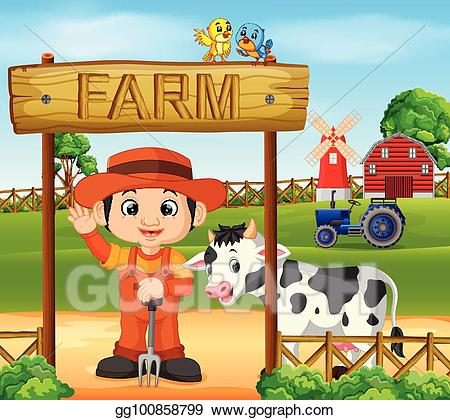 Farmers clipart farm animal scene. Vector scenes with many