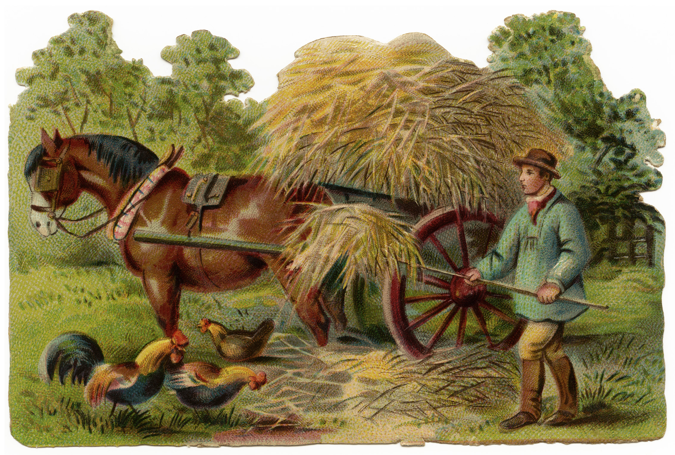 Victorian farmer at work. Farmers clipart farm animal scene
