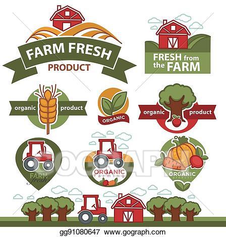 Vector art labels for. Farming clipart local food