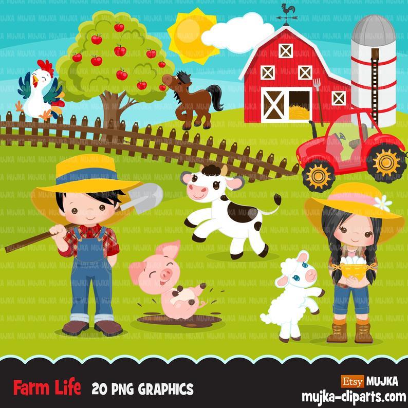 Animals tractor red barn. Farmers clipart farm life