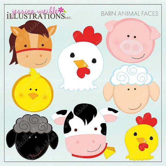 Barn animal faces cute. Farmers clipart farmer face