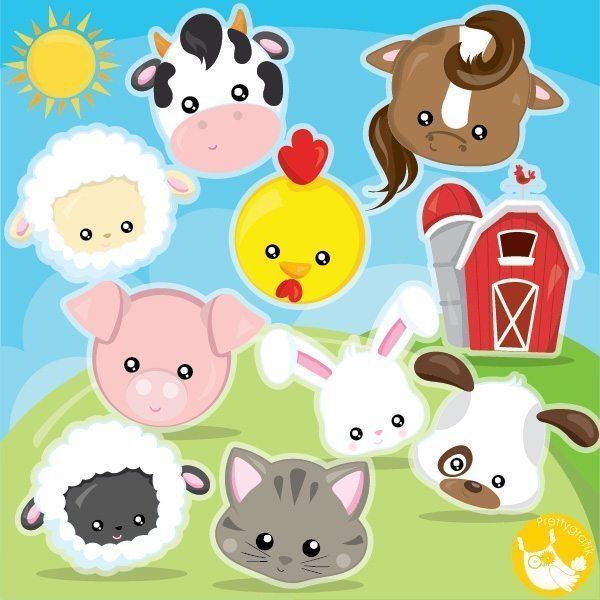 Farm animal faces . Farmers clipart farmer face