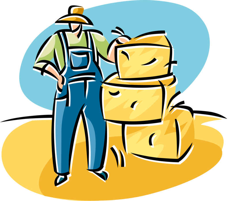 Farmers clipart farmer harvesting crop. With bales of harvested