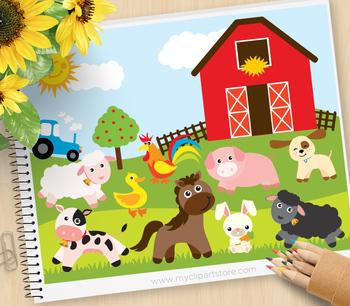 Animals at the farm. Farming clipart teacher