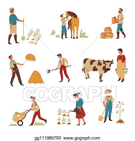Gardening clipart crop production. Eps vector farmers agriculture