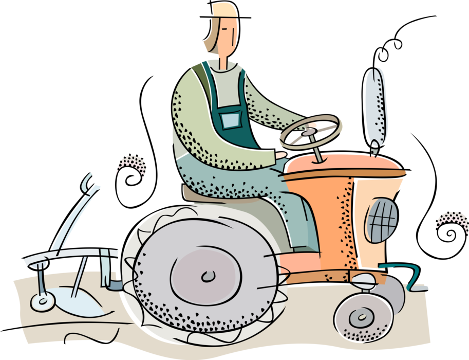 Farmers clipart farmer ploughing field. Plows with tractor vector