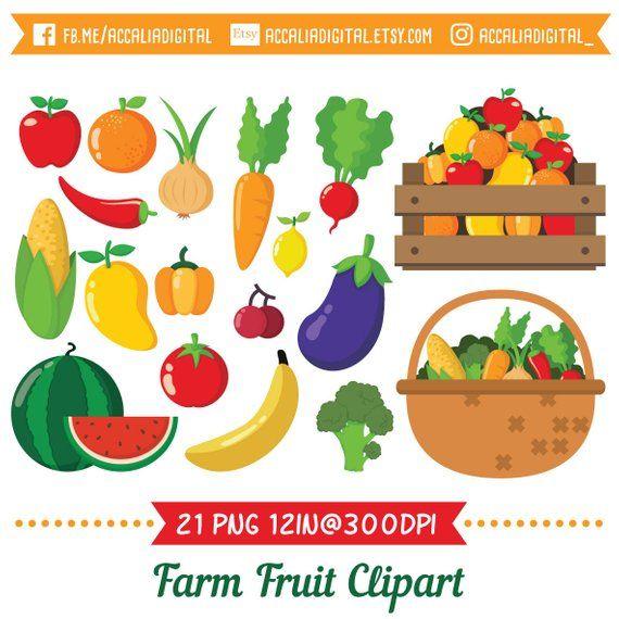 Clip art set farm. Fruit clipart stick