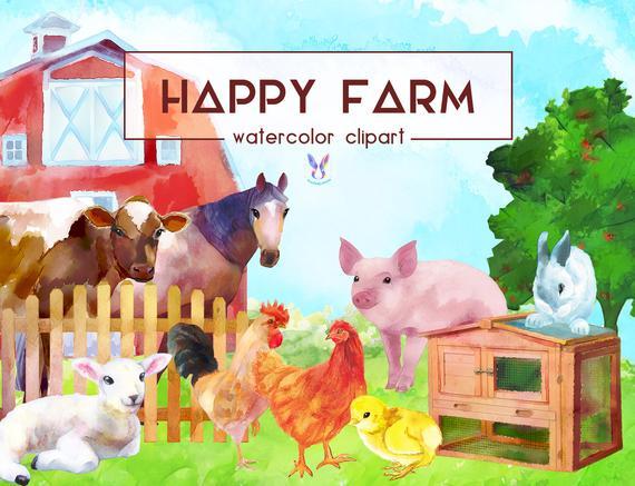 Farm animals watercolor digital. Farmers clipart happy farmer
