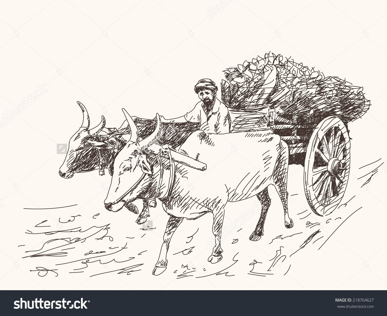 Farmer paintings search result. Wagon clipart oxcart