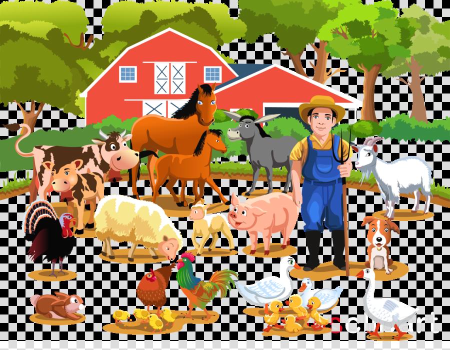 Farmers clipart livestock farming. Farmer cartoon cattle chicken