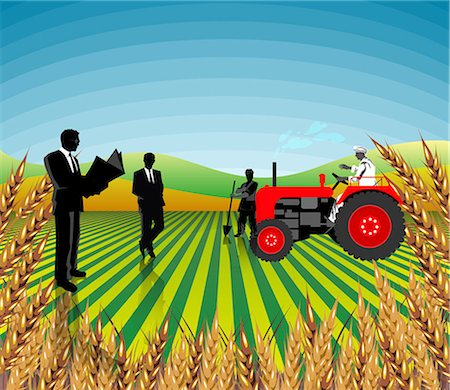 Farming clipart field. Businessmen and farmers in