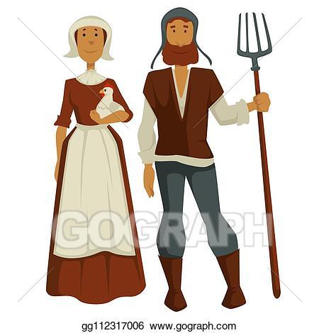 Farmers clipart peasant. Vector stock peasants family